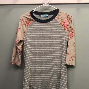 Floral and stripes baseball tee
